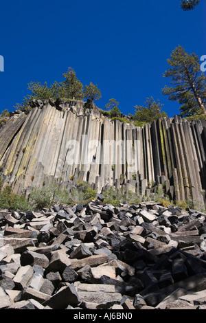 Basalt columns at Devils Postpile National Monument, California, USA - Stock Image