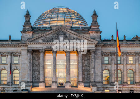 Reichstag building and dome Berlin Germany - Stock Image