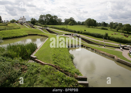 Foxton Locks, Leicestershire, UK. Showing Overflow Ponds. - Stock Image