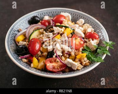 Greek Barley Salad with home made Vegan Feta. - Stock Image