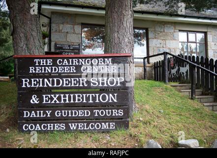 Exterior of the Cairngorm Reindeer Centre, Aviemore, Scotland, UK - Stock Image