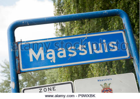 Maassluis The Netherlands  Town entry sign. - Stock Image