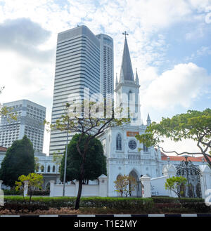 CHIJMES Convent of the Holy Infant Jesus Chapel converted into social hall function event centre Swissotel Stamford hotel and Raffles City Singapore. - Stock Image