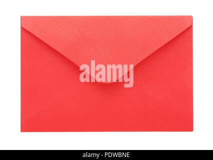 Pink craft envelope isolated on white background - Stock Image