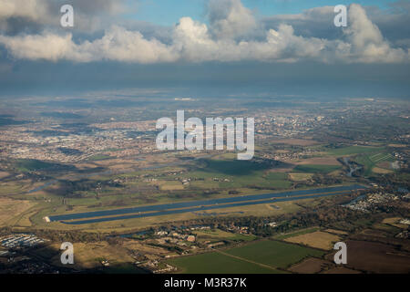 Aerial view of Dorney Lake olympic rowing venue from the south. - Stock Image