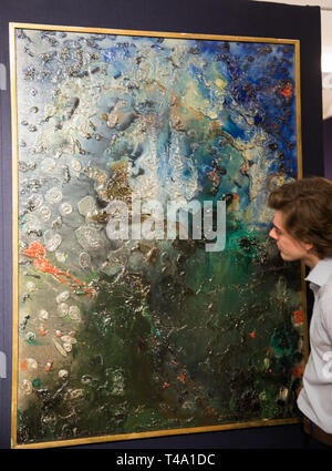 London,UK,15th April 2019,The photo call for Bonhams Greek Sale took place at Bonhams New Bond Street Saleroom. On display: THANOS TSINGOS (Greek, 1914-1965) Abstract marine 130 x 97 cm. Estimated at: £ 8,000 - 12,000. The sale takes place on the 17th April at 2pm. Credit: Keith Larby/Alamy Live News - Stock Image