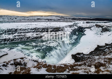 The famous Gullfoss in Iceland during winter. - Stock Image