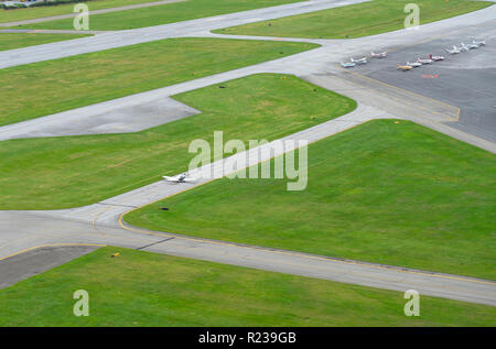 Small Airplane On Runway At Local Airport, Reading Pennsylvania, USA - Stock Image