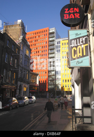 Denmark Street and Alley Cat club central London - Stock Image