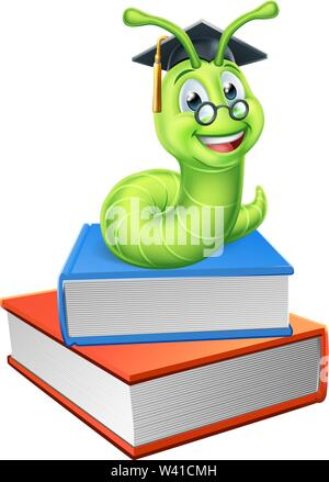 Bookworm Worm and Books - Stock Image