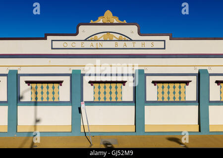 The Art Deco facade of the Newcastle City Council Ocean Baths in New South Wales, Australia. - Stock Image