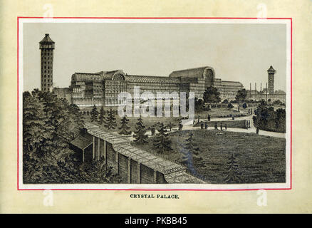 The Crystal Palace, 1880 high quality steel engraving of the iron and glass exhibition hall designed by Joseph Paxton for the Great Exhibition of 1851 and then transferred to Sydenham, water towers designed by Isambard Kingdom Brunel - Stock Image