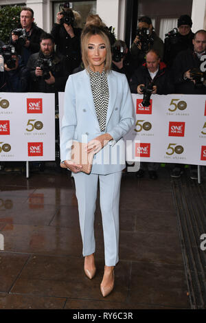 London, UK. 12th Mar, 2019. LONDON, UK. March 12, 2019: Megan McKenna arriving for the TRIC Awards 2019 at the Grosvenor House Hotel, London. Picture: Steve Vas/Featureflash Credit: Paul Smith/Alamy Live News - Stock Image