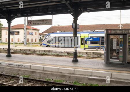 Trenitalia Jazz train standing in Pistoia railway station, Tuscany, Italy, Europe - Stock Image