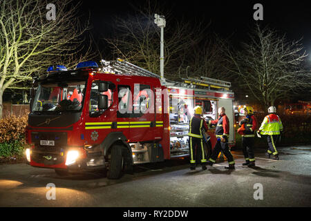 A severe fire taking place at the George Bryan Centre next to the Sir Robert Peel Hospital in Mile Oak, Tamworth, Staffordshire, UK - Stock Image