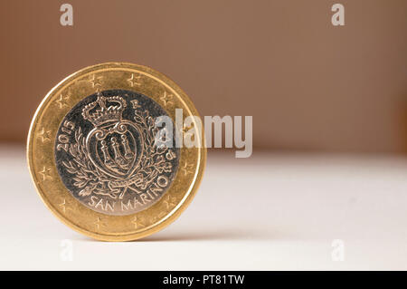 San Marino one euro coin on white background - Stock Image