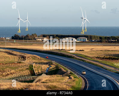 View of the new Aberdeen bypass road looking toward offshore wind farm - Stock Image
