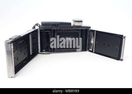 The film compartment of a Polaroid Instant Film Land Camera, Model 110A - Stock Image