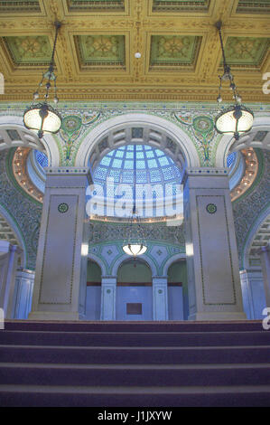 View of glass dome in Chicago Cultural Centre.  The ornate  and intricate design is beautiful. - Stock Image