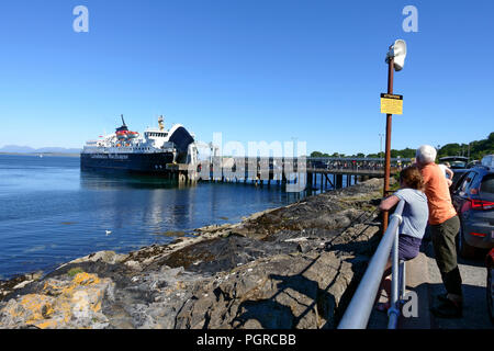 Isle of Mull, Calmac ferry unloading and loading at Craignure, Mull on the route to Oban on the Scottish mainland - Stock Image