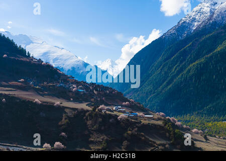 Landscape Himalays Mountains Spring.Asia Nature Morning Viewpoint.Mountain Trekking,View Village .Horizontal picture. - Stock Image