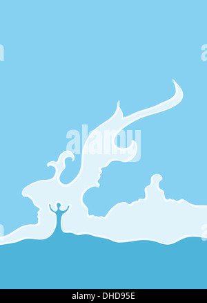 Conceptual illustration of couple facing problems in their relationship - Stock Image