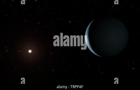 Pluto planet. Space theme. 3D illustration. - Stock Image