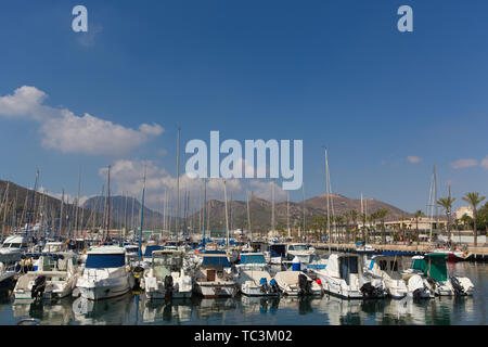 Cartagena Murcia Spain with boats in harbour - Stock Image