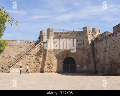 The old city walls in Famagusta Cyprus with access for the curious tourist - Stock Image