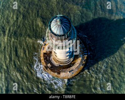 France, Gironde, Verdon sur Mer, rocky plateau of Cordouan, lighthouse of Cordouan, listed as Monument Historique, general view at high tide (aerial view) - Stock Image