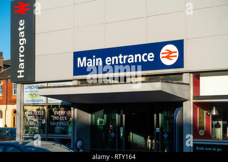 The Main entrance to the railway or train station Harrogate town centre North Yorkshire - Stock Image