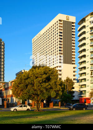 The Pan Pacific Hotel, Perth, Western Australia, seen from Langley Park, Perth. - Stock Image