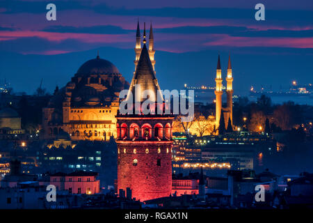 View of the Galata tower and the Süleymaniye mosque, Istanbul - Stock Image