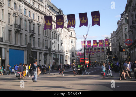 Oxford Street junction with Regent Street London with Queen Coronation Banners June 2013 - Stock Image