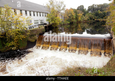 The Dam and Falls on the Charles River, by the Old Silk Mill, Newton Massachusettes - Stock Image