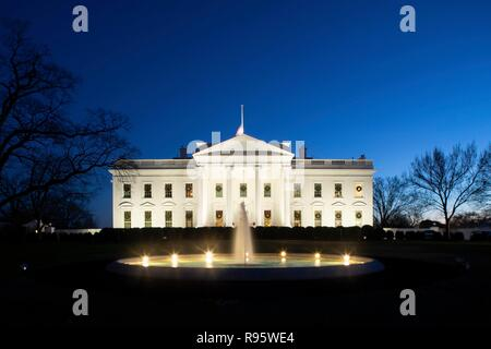 The north side of the White House decorated for Christmas and lighted at night December 12, 2018 in Washington, DC. - Stock Image