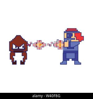 Videogame pixelated gangster character isolated blue lines - Stock Image