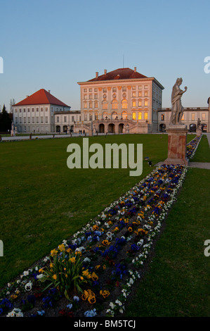 Spring flower beds at Nymphenburg palace, Munich - Stock Image