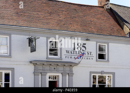 185 Watling Street Pub & Kitchen,  an award winning pub located in the centreof the historic market town of Towcester; Northamptonshire, UK - Stock Image
