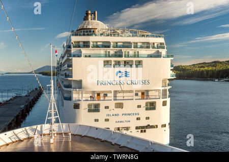 Sept. 17, 2018 - Ketchikan, AK: Rear view of Island Princess cruise ship, with passengers enjoying late afternoon sunlight. - Stock Image