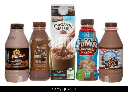 Several brands of chocolate milk - Stock Image