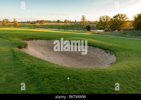 Sand trap at the golf course in Carton House, Maynooth, Co. Kildare, Ireland - Stock Image