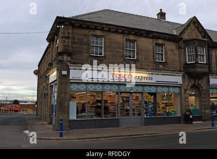 Tesco Express shop Amble  Amble is a small town on the north east coast of Northumberland in North East England that retains it's high street. - Stock Image