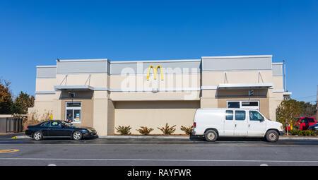 CONOVER, NC, USA-12/26/18: McDonald's building and drive-through. - Stock Image