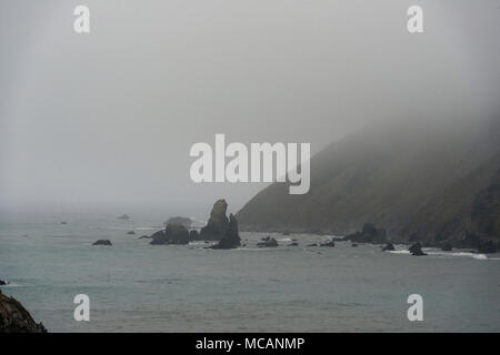 Fog along the Pacific Coast in Northern California - Stock Image