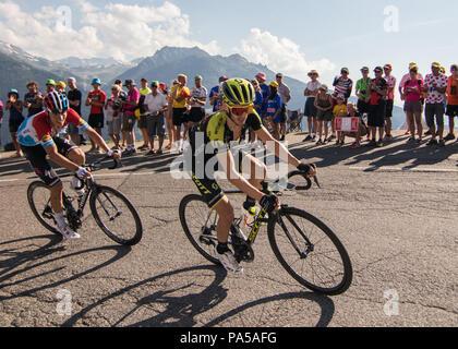 Adam Yates Bob Jungels Tour de France 2018 cycling stage 11 La Rosiere Rhone Alpes Savoie France - Stock Image