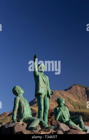Statue of three poets at Puerto de Las Nieves, Gran Canaria, Canary Islands - Stock Image