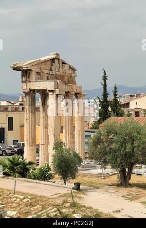 Gate of Athena Archegetis, Roman Agora, Athens - Stock Image