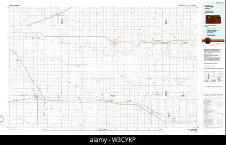 USGS TOPO Map Kansas KS Oakley 801622 1985 100000 Restoration - Stock Image