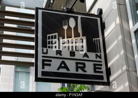 Urban Fare grocery store sign at the Olympic Village on False Creek, Vancouver, BC, Canada - Stock Image